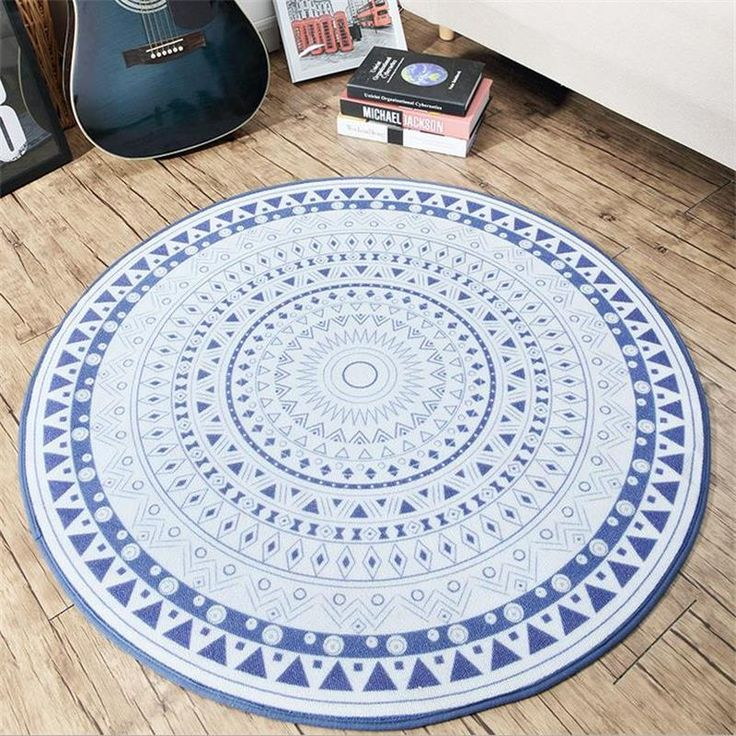 200CM Big Round Rugs And Carpets For Home Living Room Mediterranean Style Bedroom Floor Mat Study Room Area Rug Kids Play Mat