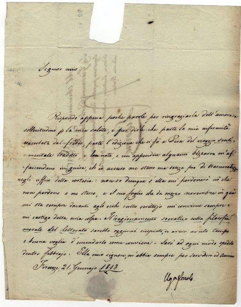 Ugo Foscolo, Lettera autografa a Giovanni Paolo Schulterius, 21 gennaio 1813 [copyright Archivio Capitolare di Pistoia]