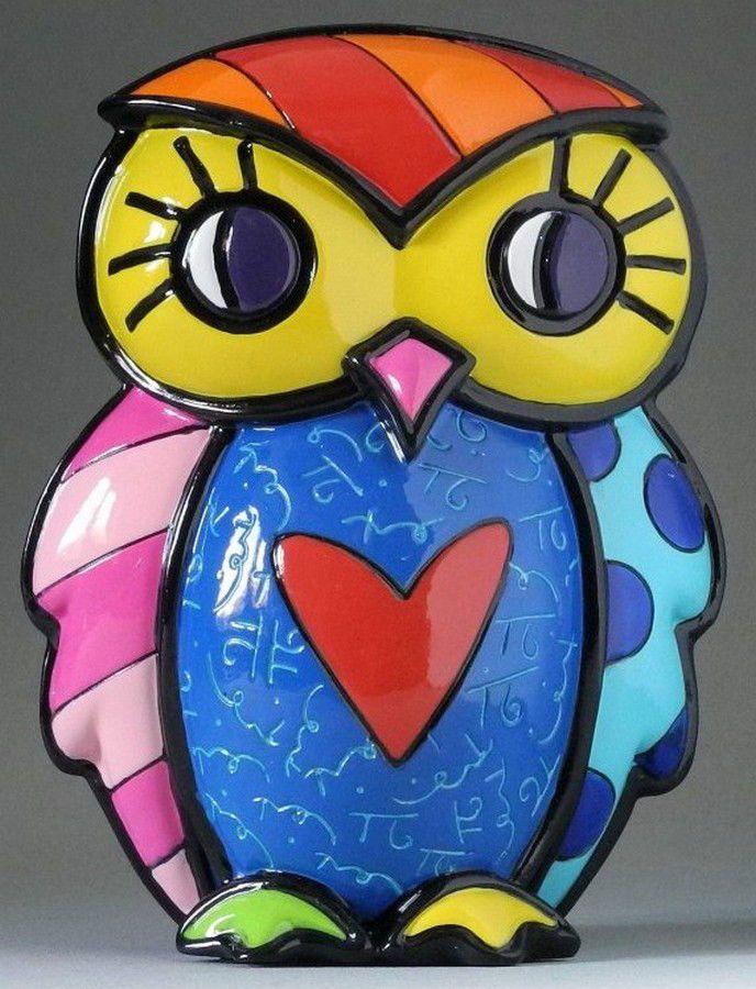 "ROMERO BRITTO 'Courage (Red Heart)' Owl Figurine / Sculpture 5"" Pop Art **NEW**"