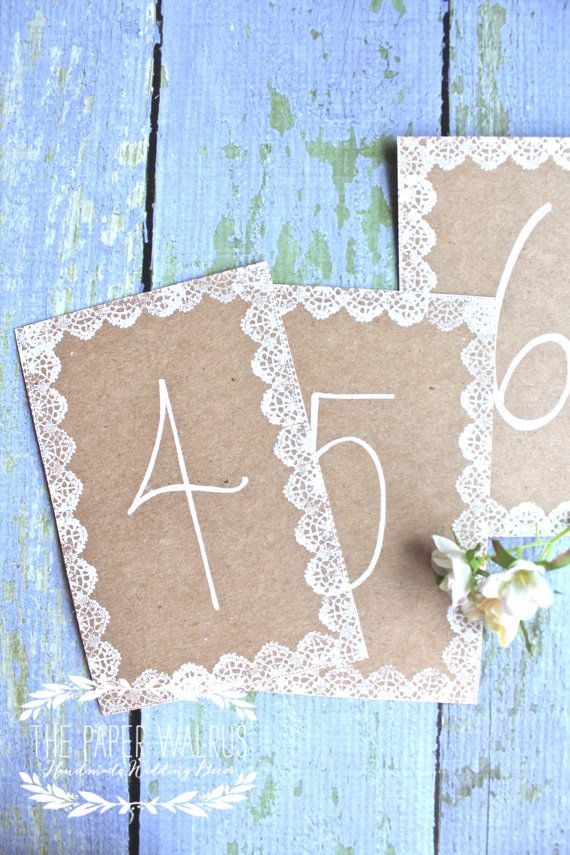 Lace Wedding Table Numbers Handmade $2.50