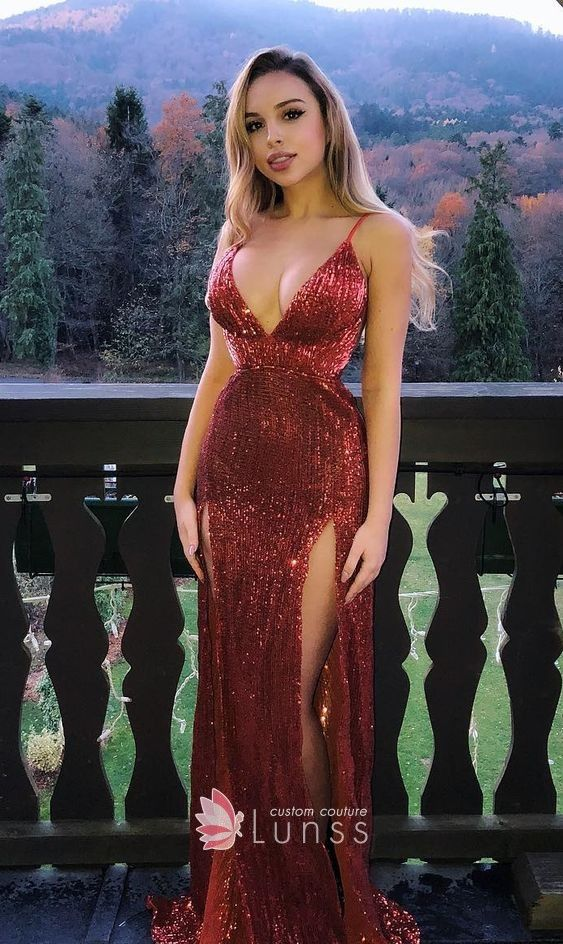 cdf1da276ac Dark red glitter sexy double thigh high slit plunging V neck prom dress