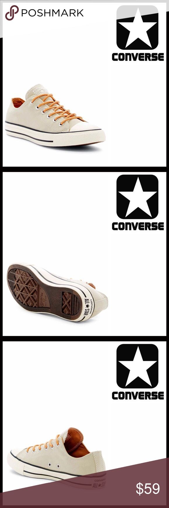 ❗1-HOUR SALE❗CONVERSE STYLISH CANVAS SNEAKERS 💟NEW WITH TAGS💟   CONVERSE STYLISH CANVAS SNEAKERS Oxfords   SIZING- Unisex, Women's sizes are shown in listing, Women's size 10 = men's size 8   * Round rubber cap toe; lace up * Flat sneaker sole  * Contrast trim  * Topstitch detail  * Non-marking textured grip sole & logo tongue * Black stripe outsole  Material: Textile upper, rubber sole  Color-Frayed burlap, white Item#C95200 Search words # non hi tops flatform   🚫No Trades🚫 ✅ Offers…