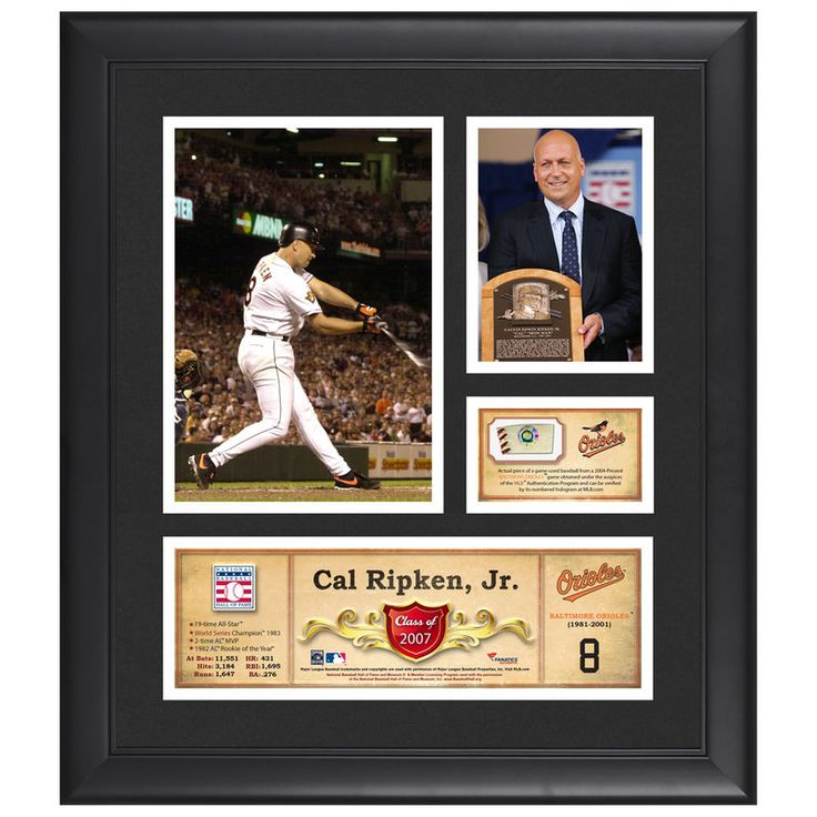 """Cal Ripken Jr. Baltimore Orioles Fanatics Authentic Framed 15"""" x 17"""" HOF Collage with Piece of Game-Used Ball"""