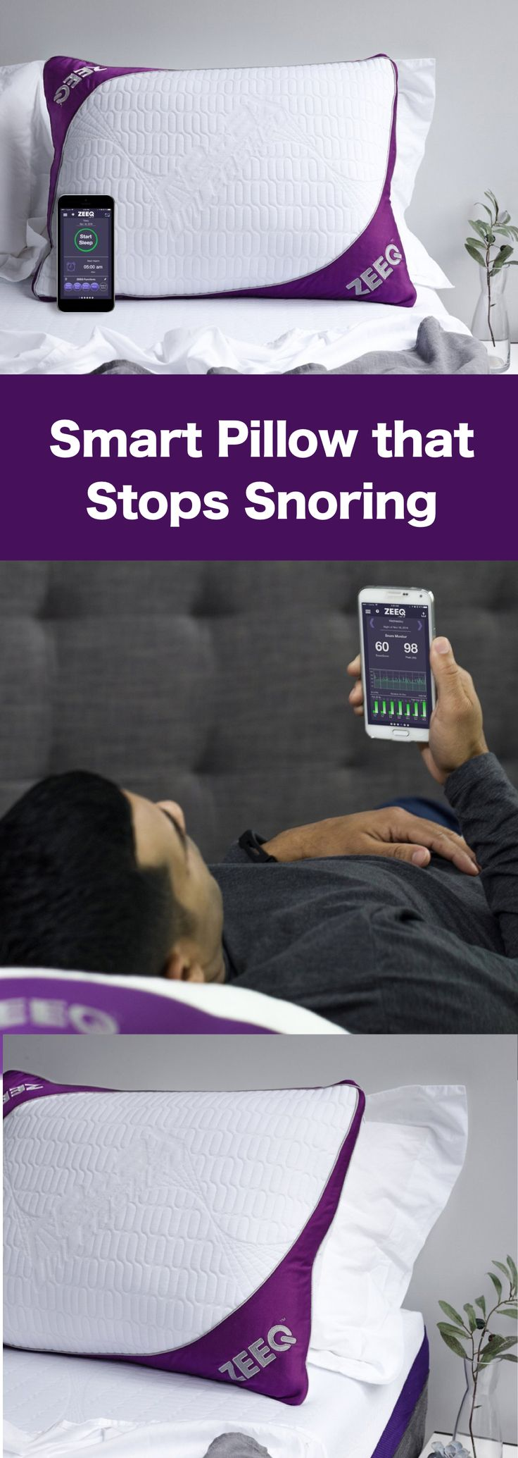 Zeeq: World's first smart pillow that stops snoring, tracks sleep patterns and improves sleep quality.