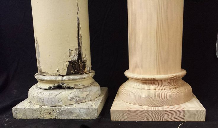 A close up detail of an original column base that has rotted away and our new column base, made to match.