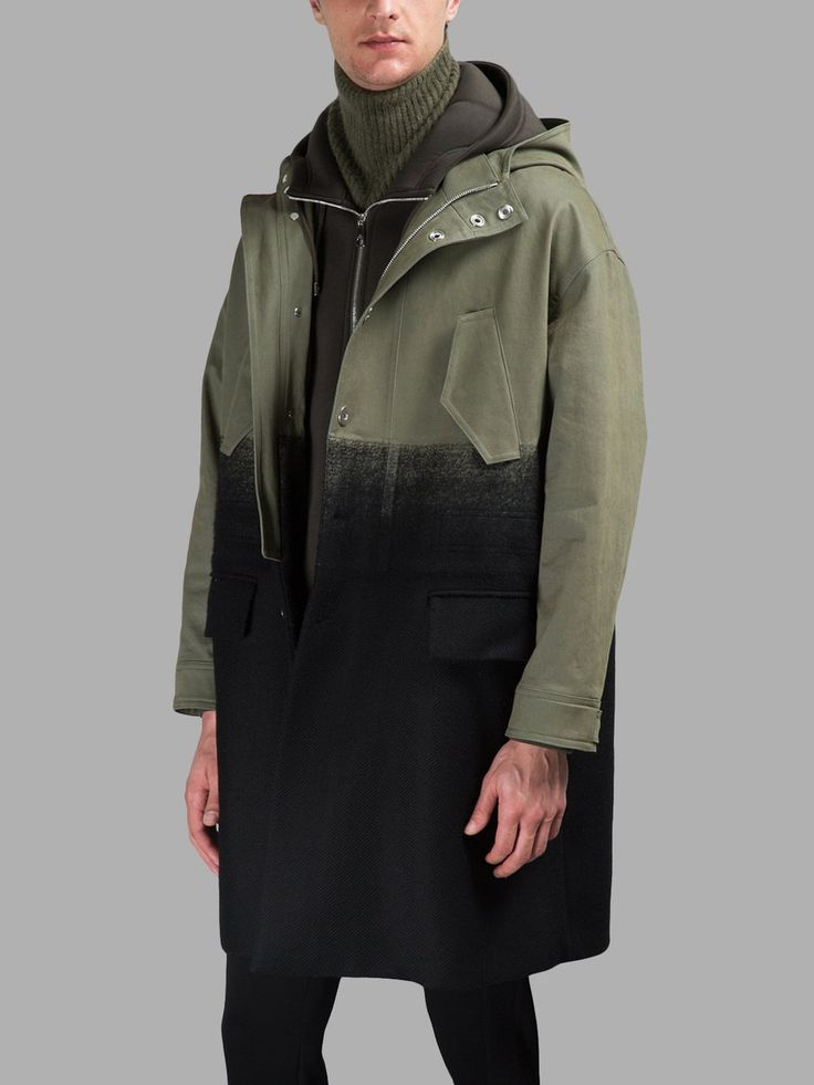 NEIL BARRETT MEN'S MILITARY GREEN PARKA
