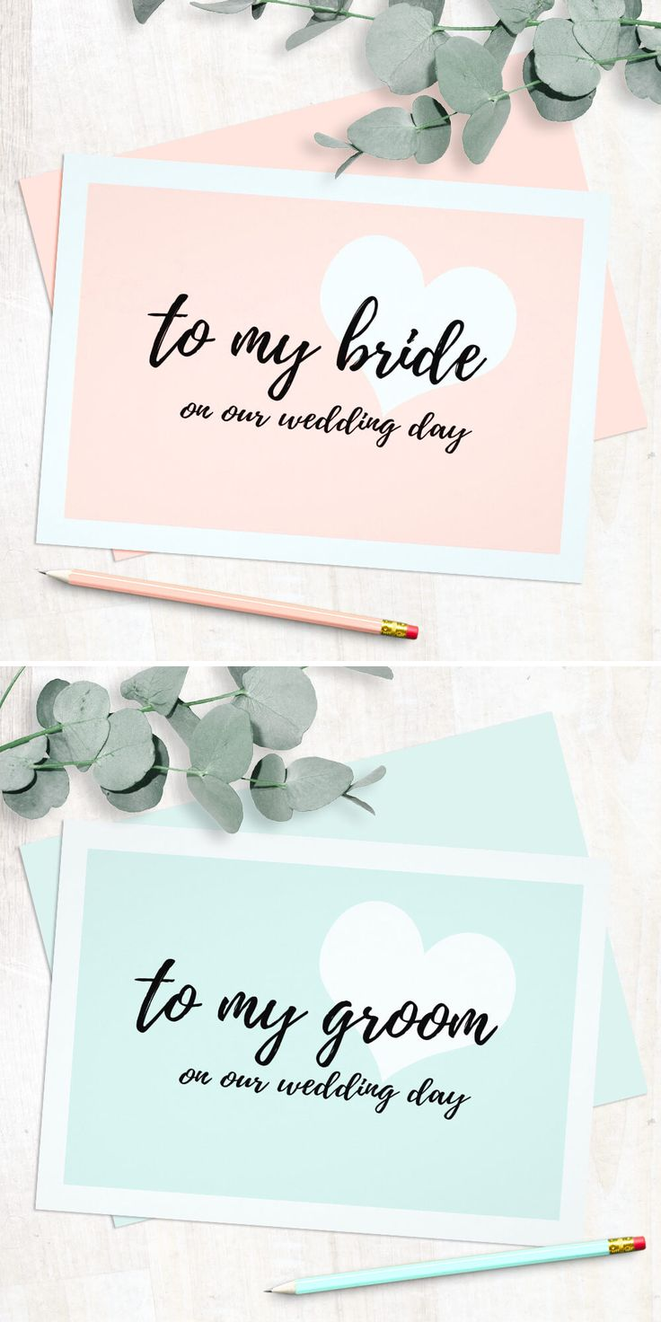 A modern and cute script style wedding day cards.
