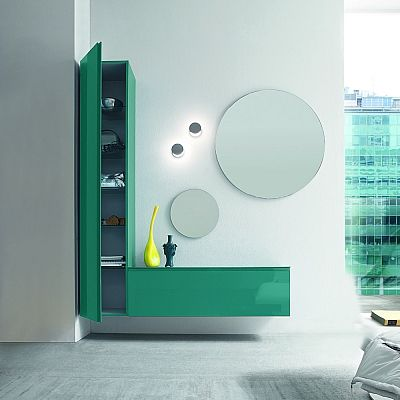 Bright modern L-shaped sideboard with mirrors by Birex