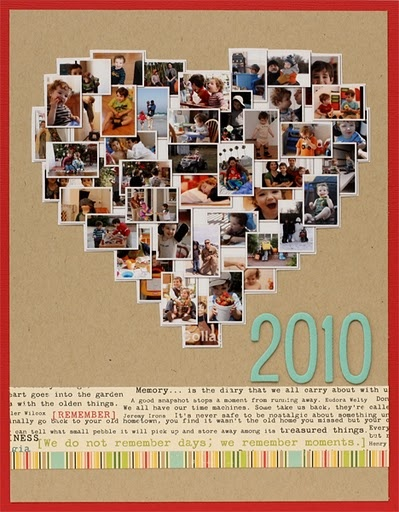 Heart shaped photo collage card. Could do this big and frame on a wall with events from the year below