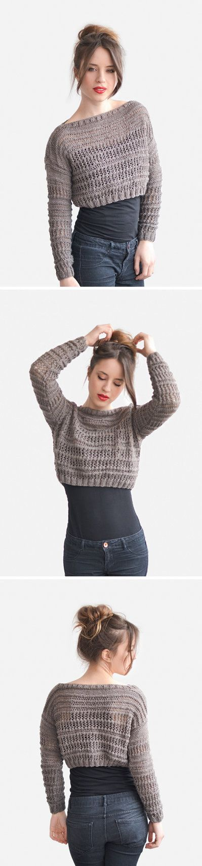 Crop Top Sweater in Light Brown Hand Knit Short Top by Plexida