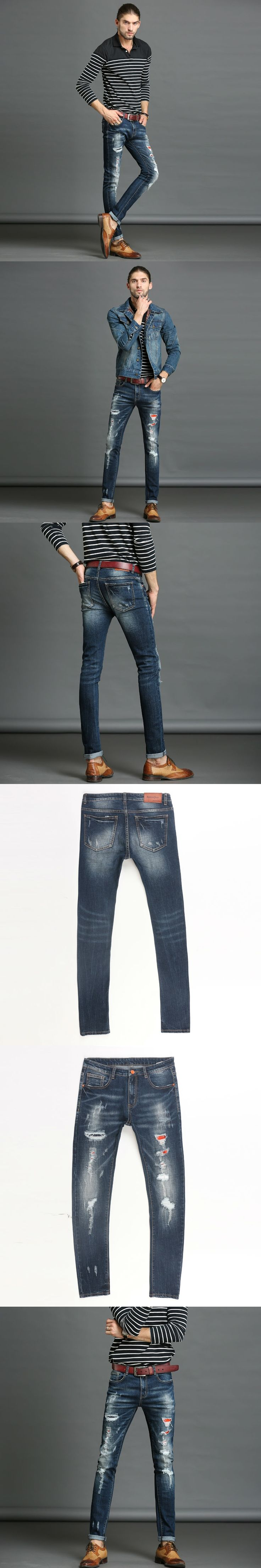 The best Ripped Skinny Jeans Men Stretch Hole Jeans Cool Jean Slim Homme All-Match Trousers Casual Pants Elastic Male Pants Men