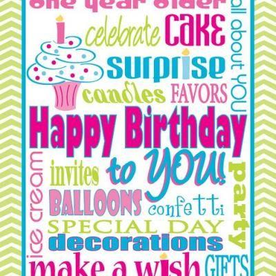 birthday printable; fun, chevron, bright, bday