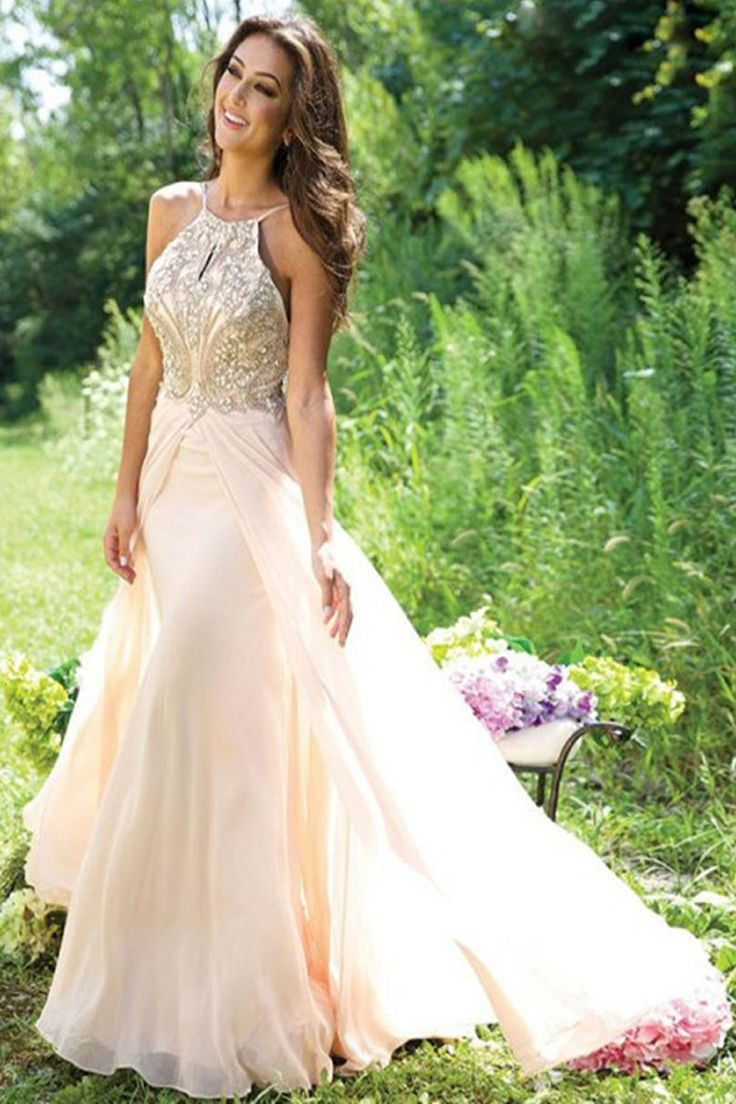 Halter A-Line Long Prom Dress Evening Dress E91 – Simibridaldress