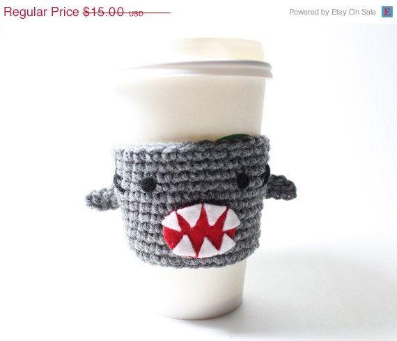 Shark Coffee Cozy Shark Week Drink Sleeve Crochet Animal Can Koozie Sharknado Java Jacket Cup Holder