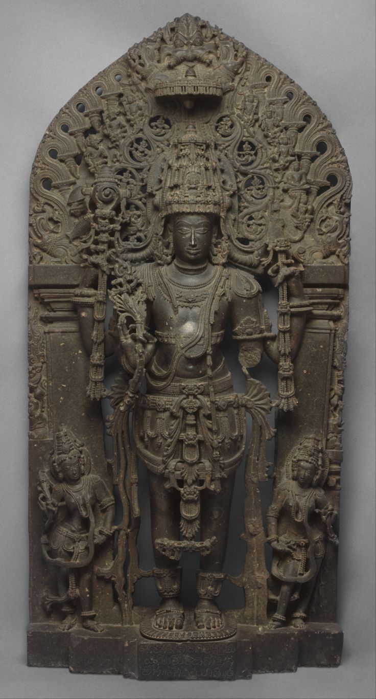 "kailasanath:  "" Lord Vishnu as Keshava  Accompanied by consorts Shri Devi and Bhu Devi  Hoysala Period, circa 12th Century CE  MET Museum  """