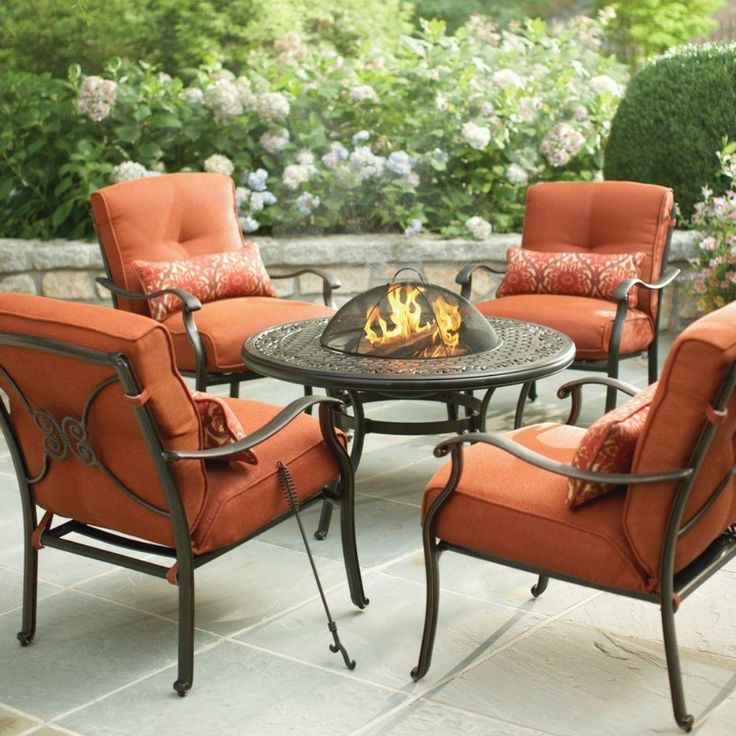 Elegant Outdoor Fire Pit Patio Furniture Set 5 Pc Outdoor Metal Chair Round Metal  Fire Pit Table Comfortable Terra Cotta Cushion Decorative Orange Pillow  Cover Uv ...