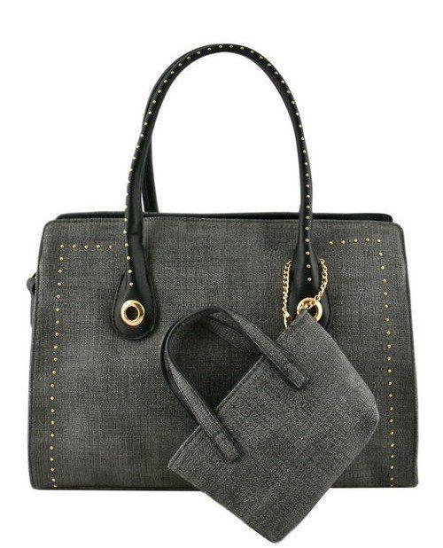gold studded black tote bag