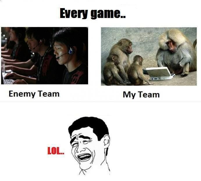 At every Game, this is what the enemy Team and my Team looks like.