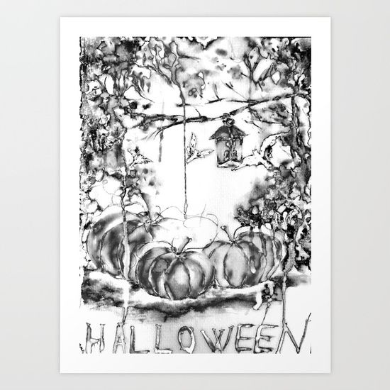 Halloween Night, black and white, vintage Art Print