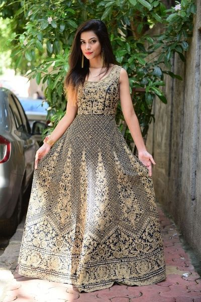 Indian Women Suits - Navy Blue and Gold Anarkali | WedMeGood | Sleeveless Gold Embroidered Navy Heavy Suit  #wedmegood #indianwedding #indianbride #navy #anarkali #suits #embroidered #gold