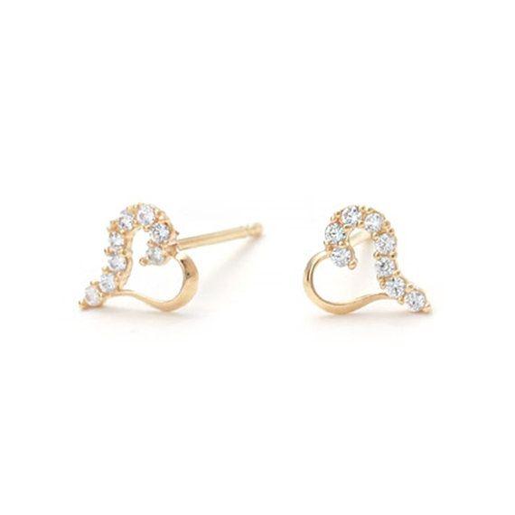 14k Gold heart earrings, wedding invitation,gold earrings for women, invitation, tiny earrings,minimal earrings,bridal earrings,vtrear-8