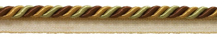 "10 Yard Value Pack Medium BROWN GOLD Baroque Collection 5/16"" Cord with Lip Style# 0516BL Color: GOLDEN CHESTNUT - 5207 (30 Ft / 9 Meters)"