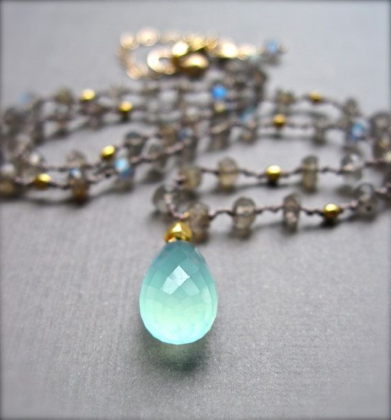 Gemstone Necklace Aqua Chalcedony and by NellBelleDesigns on Etsy, $88.00