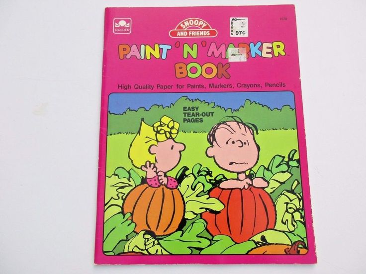 vintage 1988 snoopy friends paint marker book golden unused - Snoopy Friends Coloring Pages