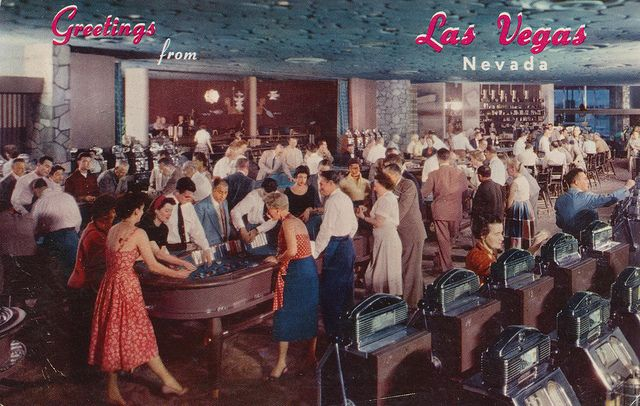 Hotel Flamingo Casino, Las Vegas, NV.  Mailed from Los Angeles, CA to Winfield, KS on 6/17/57: Dear A.R. & All - I have a reservation to leave here Tues on the U.P. as you planned. However if I could get a seat on the Chief er El Cap I would love that way & get home sooner. But no seats available unless there is a cancellation. Nora drove us to Las Vegas & places were just like this card. I may come on Grand Canyon (no reserved seats) will let you know. - Ailene