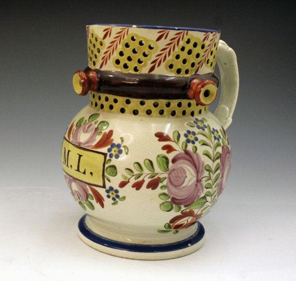 Puzzle jug pearlware British pottery c1820