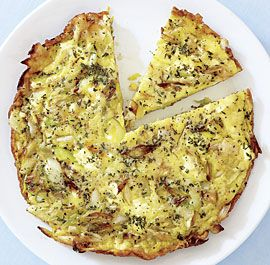 Leek and Goat Cheese Frittata, from Fine Cooking - use less salt than they recommend (we use only a pinch), and we used less butter than stated to cut the fat a bit