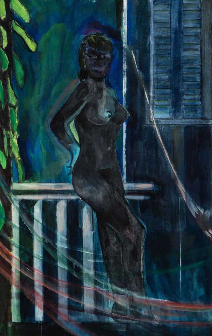 "Peter Doig, ""Night balcony painting"", 2015. Distemper on linen, 51 x 31 1/2 inches, 130 x 80 cm."