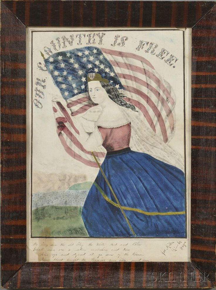 """OUR COUNTRY IS FREE! Signed """"Joe Miller Linn Co. Oregon"""" l.r., reportedly c. 1870. Watercolor and gouache on paper, depicting Lady Liberty holding an American flag with a faint battle ground l.r. over a patriotic verse, sight size 13 1/2 x 9 1/2 in., in a period grain-painted frame. Condition: Loss u.r. and l.l., tear l.l., minor toning, and stains.     Provenance: Purchased from Harvey Antiques.      Liberties with Liberty, the Museum of American Folk Art, New York, February 25, 1986-Sep"""