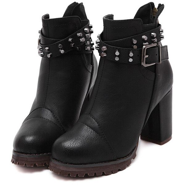 Black Buckle Strap Studded High Heeled Boots (2.190 RUB) ❤ liked on Polyvore featuring shoes, boots, black, round toe boots, chunky boots, black high heel shoes, studded boots and short black boots