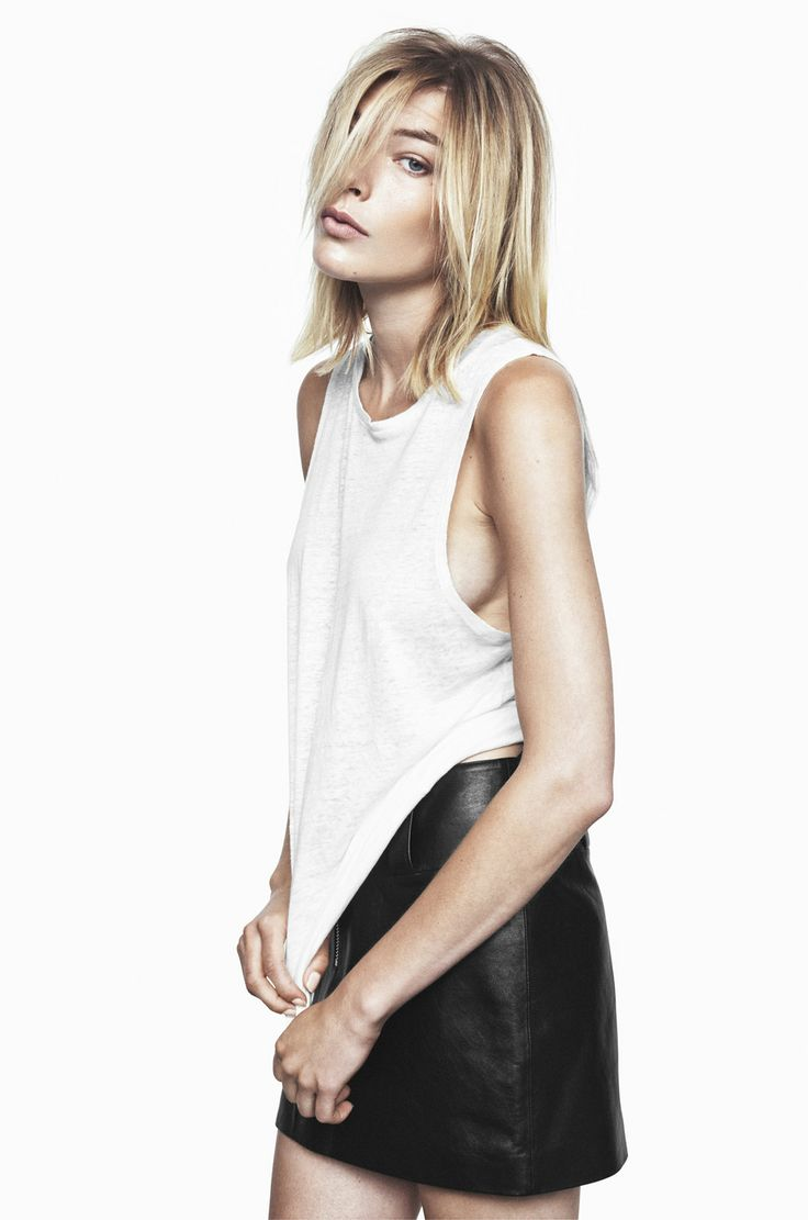 CUCKOO LINEN TOP IN JET STREAM WHITE AND LORD KNOWS LAMB LEATHER MINISKIRT IN ANTHRACITE BLACK http://fallwinterspringsummer.com