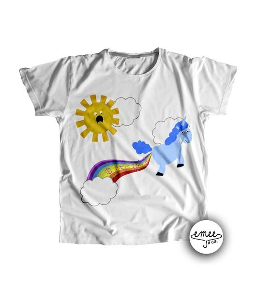 Boy Unicorn Pooping Rainbow with Shocked Sun Made with a state of the art direct to garment printerthat dyes the fabric meaning no cracking or peeling! Plus ou