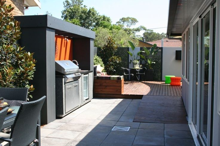 Barbecue and outdoor entertainment area renovated by Matthew Campbell at a property in Cambridge Gardens, Sydney.