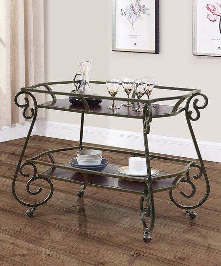 Curved Steel Rolling Serving Cart | zulily