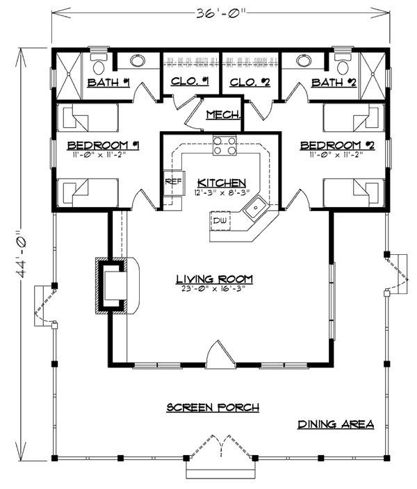 possible cabin floor plan - don't like that you have to go through a bedroom to access a bathroom - would need to change that!
