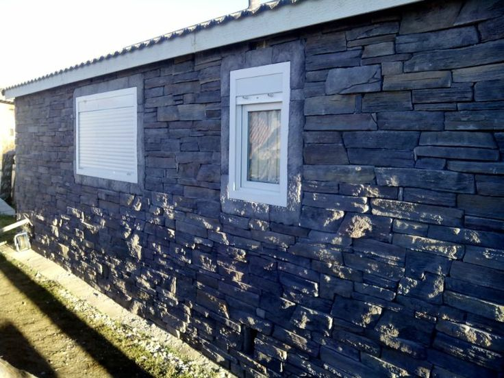Revestimiento casa prefabricada con richat graphite en - Revestimiento piedra artificial ...