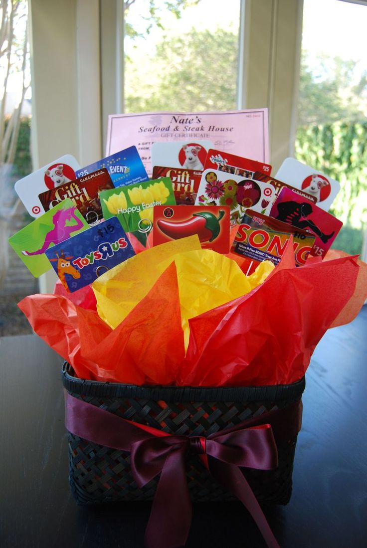 Ask each student to bring in a GC to somewhere the teacher would like (coffee shop, grocery store, gas, restaurant). Makes a large gift card bouquet.