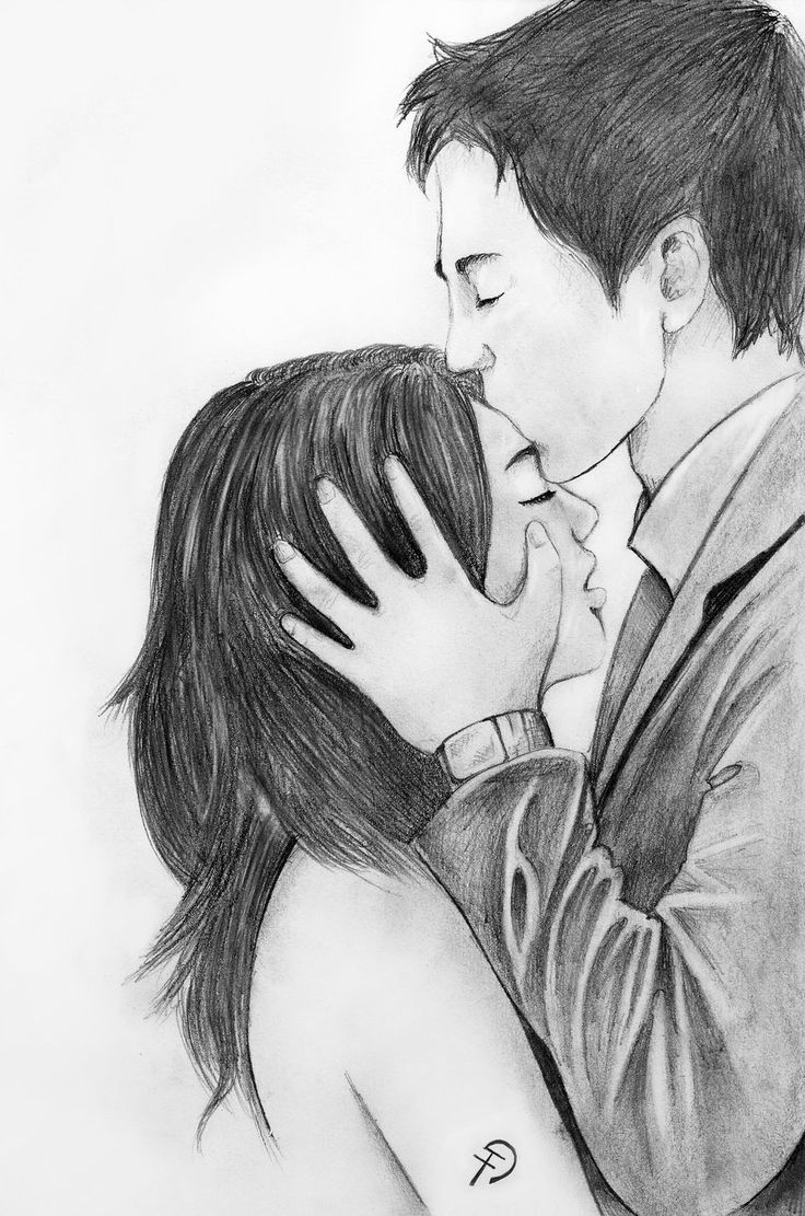 Drawing Of A Boy And Girl Hugging