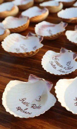 "Creative DIY sea shell seating ""cards""// Tali Pais Events"