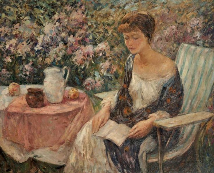 """Lois au Jardin. Wilson Henry Irvine (American, 1869-1936). Oil on canvas.It was not until he was 45 (in 1914) that Irvine packed up and moved his family to Old Lyme, Connecticut, becoming part of the famed Florence Griswold circle, now recognized as the """"American Barbizon,"""" hub of American Impressionism. It is as an Old Lyme painter that Irvine is best remembered today."""