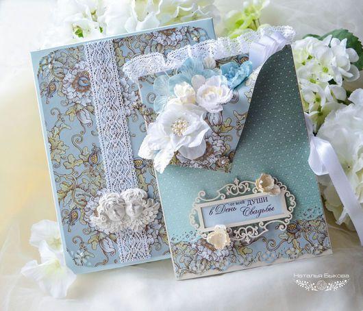 Свадебные открытки ручной работы. Ярмарка Мастеров - ручная работа. Купить открытка в коробочке свадебная «Бело-голубые цветы». Handmade.