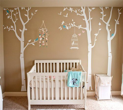 Pop decors removable vinyl art wall decals mural for for Birch tree mural nursery