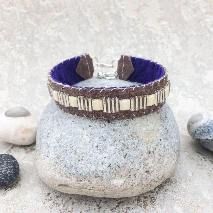 Beaded leather bracelet for women, miyuki bead bracelet, leather cuff bracelet, silver, sami style bracelet, boho embellished leather cuff by Keshinomi on Etsy https://www.etsy.com/uk/listing/490255345/beaded-leather-bracelet-for-women-miyuki