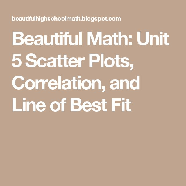 Beautiful Math: Unit 5 Scatter Plots, Correlation, and Line of Best Fit