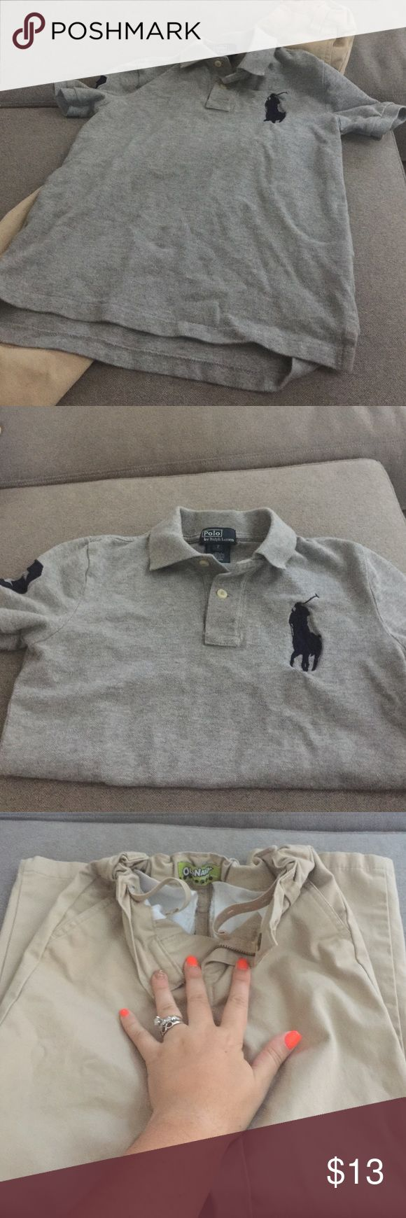 Boys school uniform bundle Boys tan Old Navy uniform pants size 7 stain on one pant leg but not very noticeable once worn. Otherwise great condition Boys Ralph Lauren polo also great condition no stains size 7. Polo by Ralph Lauren Shirts & Tops Polos