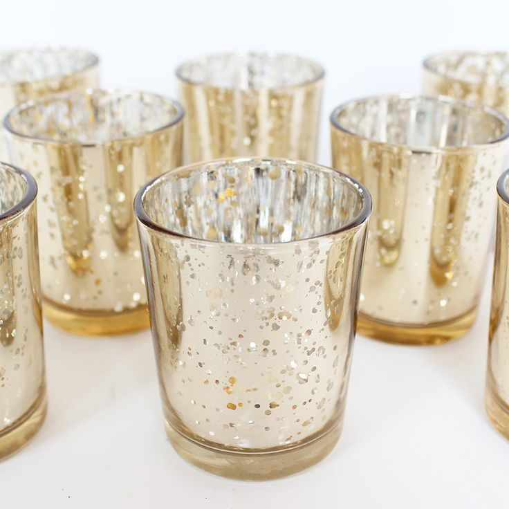 Wedding Decoration Votive Candle Holder in Gold - SOLD BY DOZEN - 2.25in. X 2.5in.